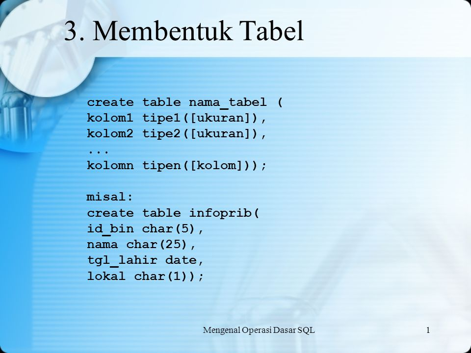 3. Membentuk Tabel create table nama_tabel ( kolom1 tipe1([ukuran]),
